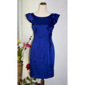 Review Slim Sheath Dress Side Ruffle Satin Size 10 Small Cocktail Party